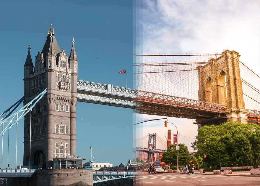 Dupla junta fotos de viagem para mostrar semelhanças do mundo