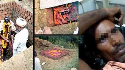 Homem se enterra vivo na Índia para virar um deus