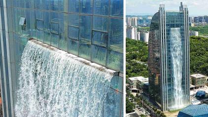 Prédio na China inaugura a maior cascata artificial do mundo