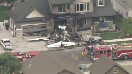 Homem briga com mulher e atinge própria casa com um avião