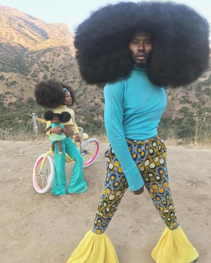 Pai e filha desfilam com cabelões que vão te surpreender