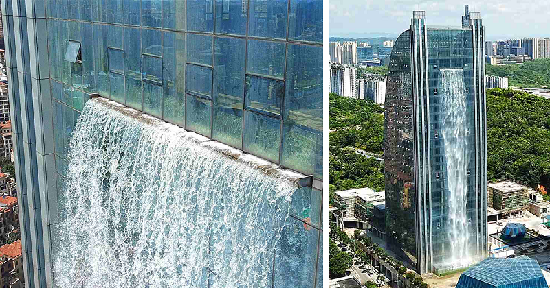 Prédio na China inaugura a maior cascata artificial do mundo
