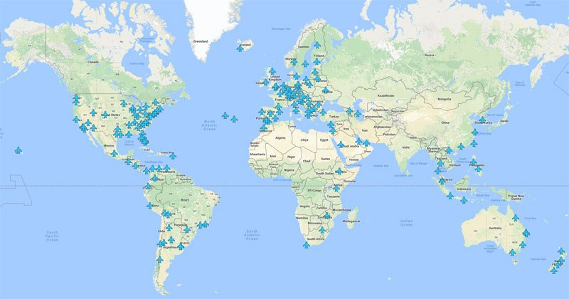 Mapa mostra as senhas de Wi-Fi de todos os aeroportos do mundo