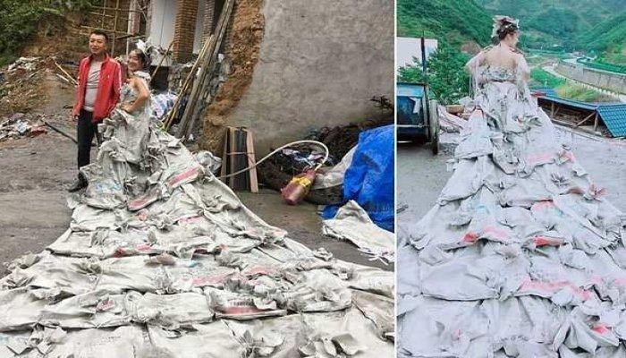 Chinesa faz sucesso com vestido feito de sacos de cimento